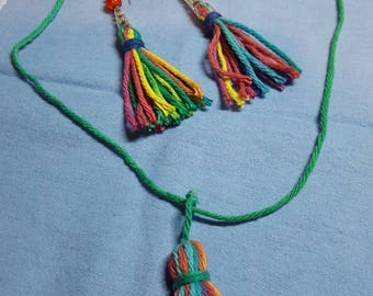 Colorful Tassel necklace & earring set