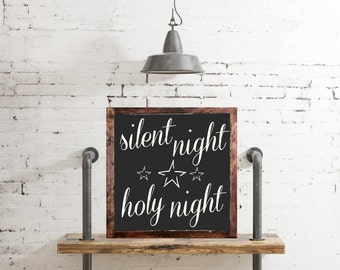 Silent Night Holy Night wood sign rustic distressed,Christmas Sign, Christmas Decor, Winter Mantel Decor, Chalkboard Style, Wall Decor