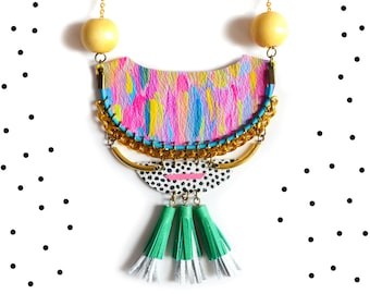 Wood and Brass Statement Necklace, Geometric Necklace, Colorful Tassel Necklace, Crescent Geometric Jewelry, Neon Woven Chain Rope Jewelry