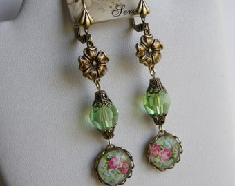 Green Earrings Pink Rose Earrings Shabby Long Green Earrings Flower Peridot Irish Earrings Gift St Patrick's Day Green Crystal Earrings