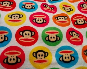 Turquoise Paul Frank Sunich Monkey- Fat Quarter Fabric Flannel Print