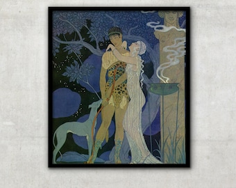 "Vintage Art Deco fashion illustration ""Phaedra and Hippolytus"" by Georges Barbier, IL046."