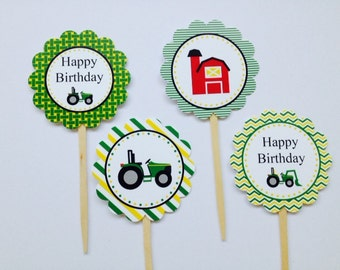 Tractor Farm Barn Cupcake Toppers ~ Farm Party ~ Set of 12 ~ Personalized