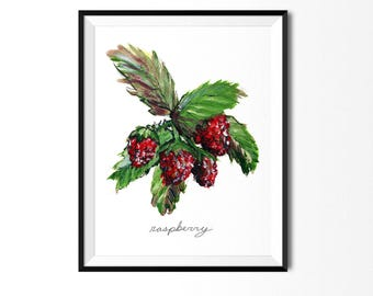 Raspberry Print, Fruit Print, Food Art, Food Illustration,  Wall Art, Kitchen Decor, Berries Painting, Raspberries Print, Fruit Painting