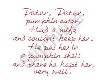 Peter Peter Pumpkin Eater - Machine Embroidery Design, Children's Nursery Rhyme, Mother Goose