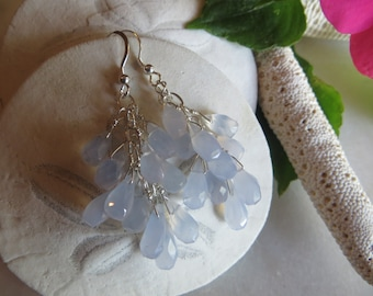 Blue Mist Chalcedony Earrings, Sterling Silver Earrings, Dangle Earrings, Faceted Earrings, Cluster Earrings, Drop Earrings, Blue Earrings