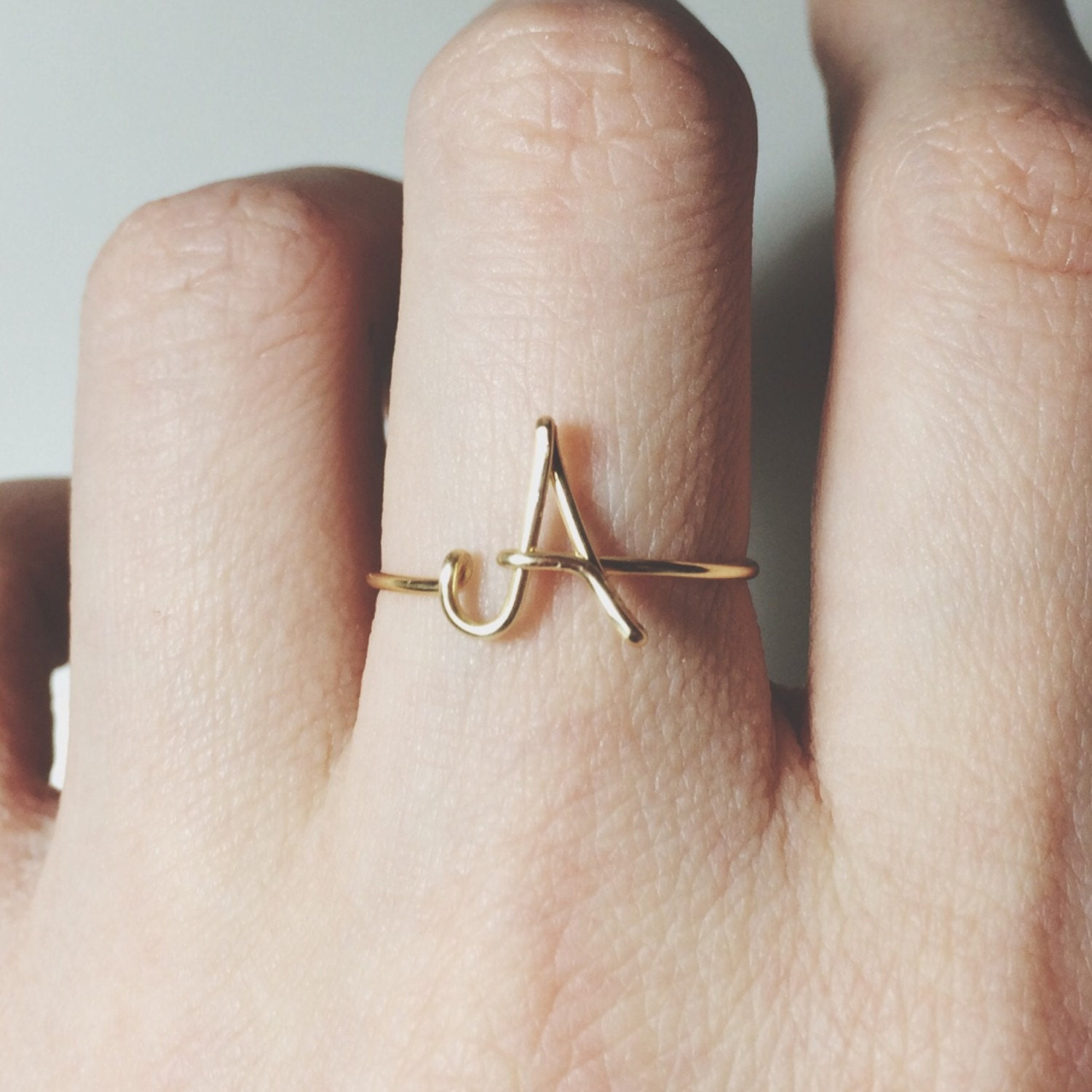 Custom Initial ring letter ring/gold/silver/knuckle ring midi