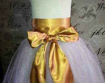 Tulle Tutu with Custom Color Sash Glitter Halloween Costume Dress Up Wedding Bridesmaids Flower Girl Disney Princess Tutu Skirt White Gold