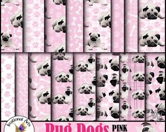 Pug Dog Pink set 1 - 16 digital papers including pug dogs, paw prints dog bones and plaids [INSTANT DOWNLOAD]