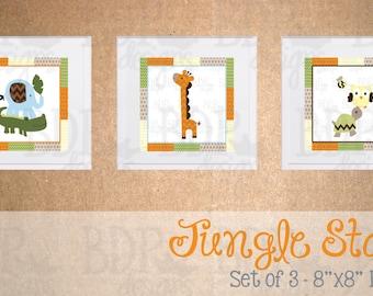 Jungle Stack Nursery Art - Set of 3 Prints