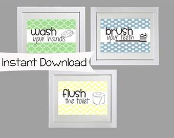 Set of Three Bathroom Printables - Brush, Flush and Wash - bathroom wall decor, bathroom decor, bathroom art, printable, available today