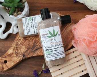 Body Wash, shower gel, hemp, walnut, liquid soap, exfoliating body wash, jojoba seed