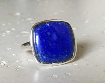 Sterling Silver Lapis Lazuli Square Silver Ring- Blue Solitaire Ring- December Birthstone Ring Custom Sizing 925 Minimalist Bohemian Silver