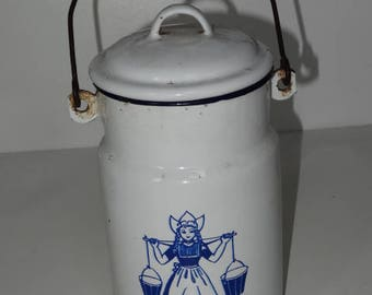 Vintage Enamel MILKMAID Billy Can Storage Container