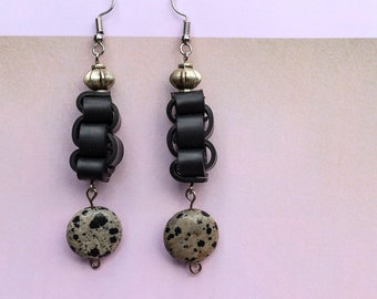Quail Eggs (handmade earrings from recycled bicycle inner tube and beads)