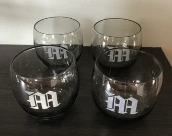 Monogram glasses, bar glasses