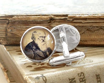 Charles Darwin Cufflinks - Darwin Cuff Links in Silver or Stainless Steel