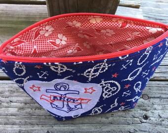 Ahoy Nautical Make Up Bag