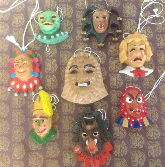 Vintage miniature German Fasching Masks