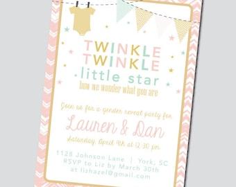 Twinkle Twinkle Gender Reveal Party Invitation