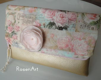 Foldover Clutch bridal bag gold pink roses English Rose Bridal clutch pale pink blush pink