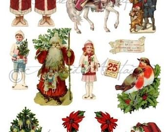 Instant Download Visions Of Christmas Past Vintage Scrap Altered Art Digital Collage Sheet