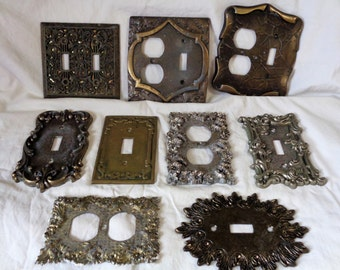 Vintage Lot of 9 Ornate Metal Switch Plates & Outlet Plates