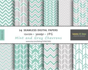 Mint Green CHEVRON Digital Paper - JPG-300dpi-12x12in - Backgrounds - Scrapbook - Patterns - Zig Zag - #101-C11