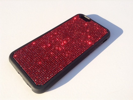"""iPhone 6 / 6s 4.7"""" Siam Red Diamond Rhinestone Crystals on Black Rubber Case. Velvet/Silk Pouch Bag Included, Genuine Rangsee Crystal Cases"""