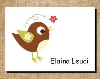 Set of Personalized Folded Blank Brown Bird Note Cards - Thank You Cards - Stationery
