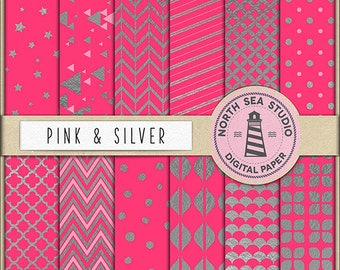 JUST A GIRL Silver Digital Paper Silver And Pink Paper Pink Backgrounds Silver Patterns Digital Scrapbooking 12 Jpg 300 dpi Files BUY5FOR8