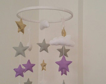 Stars and clouds nursery mobile