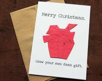 NEW** Merry Christmas Grow your own damn gift - 19 Seed Paper Shapes Available