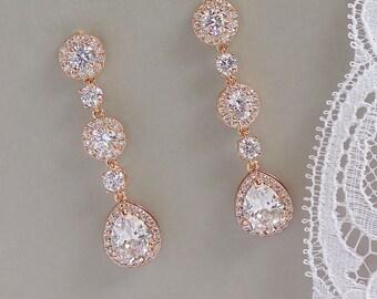 Rose Gold Drop Earrings, Crystal Bridal Earrings, Long Crystal Earrings, BRIGITTE C