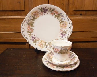 Paragon Country Lane Tea Set - 7 cups, saucers, side plates and 1 cake plate - Vintage