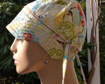 Women's Chemo Hats SALE Caps for Hair Loss Hummingbird Garden Reversible MEDIUM