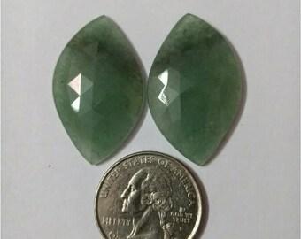 Jade green Rose cut slice Pair/ Marquise rose cut slice pair /Cabochon Slice/Natural jade green/Cabochon rose cut/Earring slice pair/loose