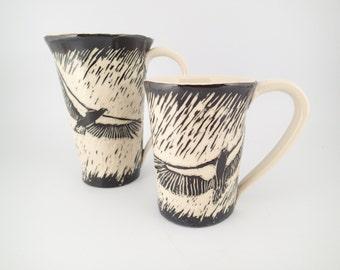 Handmade ceramic coffee mug - sgraffito carved mug - ceramic bird mug - tea cup - stoneware mug - pottery mug - black & white mug