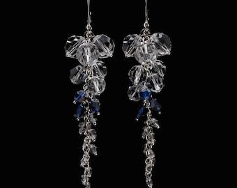 Bridal Swarovski Navy Blue Crystal Clear Sterling Silver Earrings 8.6 cm long, Crystal Clear Blue Drop Earrings, Wedding Earrings, Dark Blue