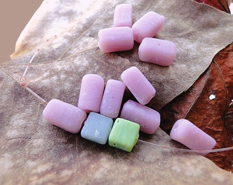 vintage! 20 pink rectangle beads Indian mattes (about 10 mm)
