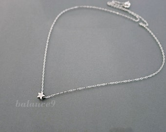 Silver Star Necklace, Tiny star necklace, dainty charm pendant, sterling silver chain, everyday jewelry, holidays gift, by balance9