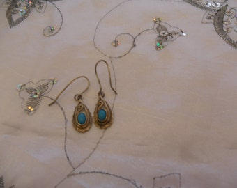 Authentic Vintage Signed Sterling Silver 925 Turquoise Small Earrings, Birthday, FREE POSTAGE
