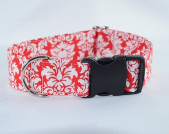 Red & White Dandy Damask Adjustable Dog Collar - buckle or Adjustable , Personalized, Engraved, ID Buckle