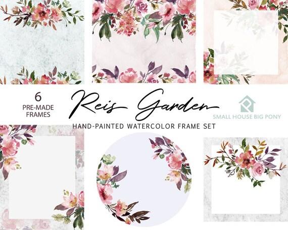 Watercolour Flower Frames Set - Hand Painted Graphics,  purple flower,  hand drawn frames,  flower Frame - Reis Garden