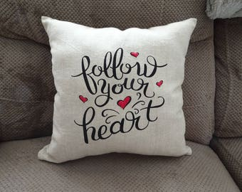Follow Your Heart Embroidered Decorative Throw Pillow 14x14 red hearts Valentine's Day decorative accents