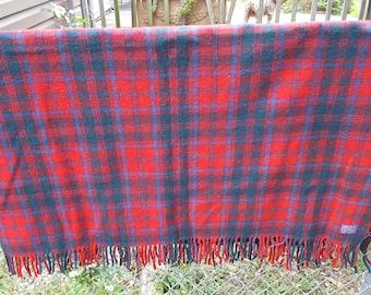 Vintage Pendleton Wool Red Plaid Throw
