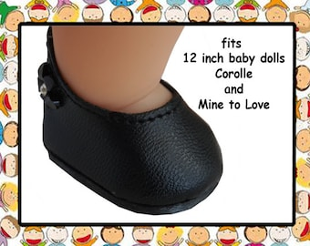 Vintage black slip on baby doll shoes / Shoes for 12 inch baby doll/ Mine to Love 12 / Corolle Calin 12 inch