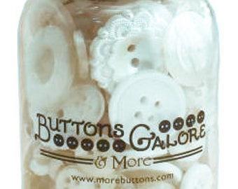 Buttons Galore Antique White Button Jar