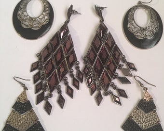 Vintage to now large bold heavy earring lot of 3