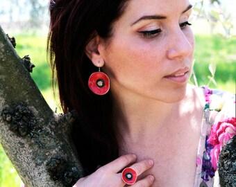 Large ceramic Poppy earrings, Poppy jewelry, Natural earrings, Floral earrings, Ceramic jewelry, Gift for her